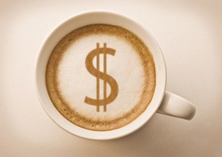 Money sign in the coffee