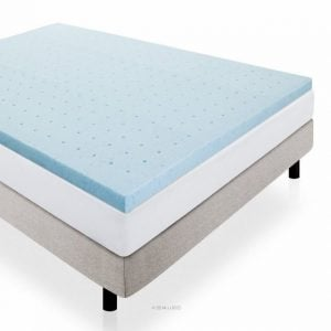 Memory foam topper on a bed that's drawn like a diagram