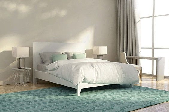 Gentil A Lot Of Luxury Bedrooms Are White With Nothing Else. This Luxury Abstract  Bedroom Has A Splash Of Color With The Designed Green Area Rug.