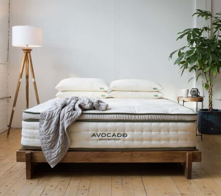 Avocado mattress in a showroom with pillows blankets on the bed and in a well lit room with a lamp and tree