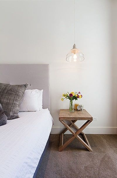 these bedside tables are super cute they fit in well with all different kinds of decor and work perfectly with smaller apartments lofts and guest rooms - Bedroom Table Ideas