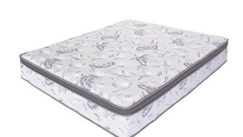 A hybrid mattress with a flower pattern on it in a whited out background