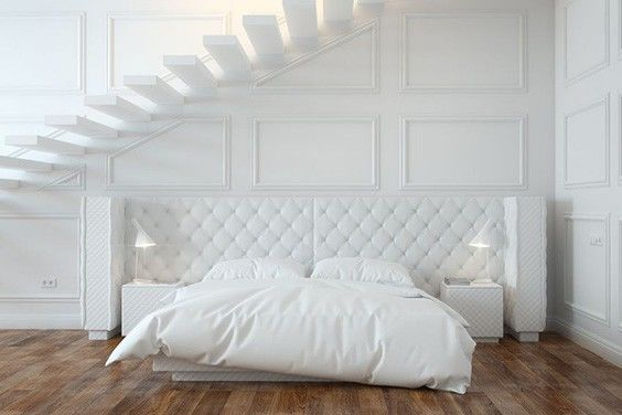 This Is One Of Those Modern White Bedroom Ideas That You Would See In A Small Apartment Or Has Very High Ceilings
