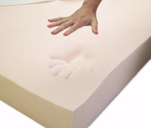 a hand pressing down on a memory foam mattress