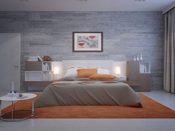 This Cool Cozy Room Is A Mixture Of Calming Grey And Wild Zesty Exciting Orange To Create Modern S Bedroom The Awesome Looking Bed