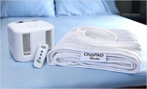 he ChiliPad Cube is the newest of the ChiliPad line of sleep comfort, and is designed to provide both single and dual temperature controls ranging in 55 to 110 degrees through circulated heated and cooled water.