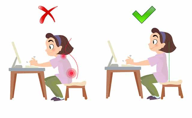 bad and correct sitting posture