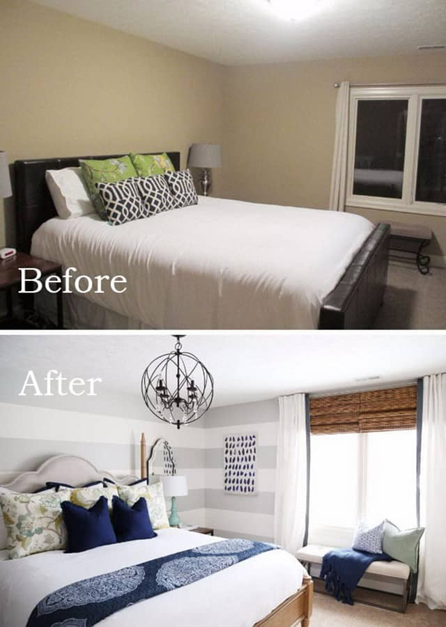 Awesome bedroom makeovers before and after pics the - How to make a small space look bigger ...
