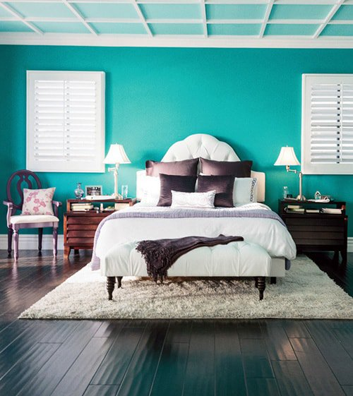 Forest Green Accent Wall With Purple: 28 Nifty Purple And Teal Bedroom Ideas