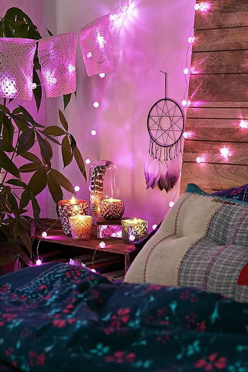 charming Teal And Purple Bedroom Ideas Part - 5: Purple Lights