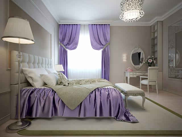 This Is A Beautiful Violet And White Colored Room. The Purple Breaks Up The  Massive Amount Of White Around The Room. The Curtains ...