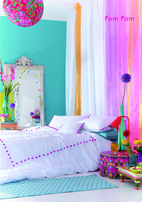 superior Teal And Purple Bedroom Ideas Part - 3: Teal Walls, Purple Accents