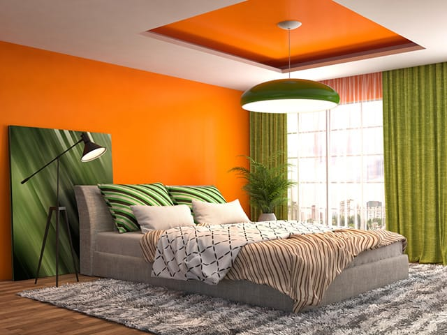 So Orange And Green Not Something You See Very Often Unless It S On A Sports Team Logo Or Jersey Anyway This Room Is Bright Bold The Walls Are