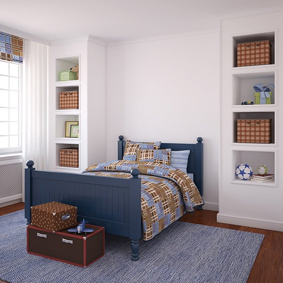 To kick off the list we have a very simple boys room with a beautiful coastal style bed frame in a navy blue color this bed is resting on top of a very