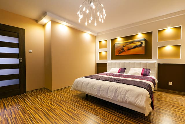 This Master Bedroom Has A Very Unique Color Pattern And It Reminds Me Of Ble Bee Well The Flooring Does Hardwood Floor Is Mixture Dark Brown