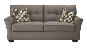Charcoal Grey Fabric Modern Sectional Sofa Bed w/Metal Legs