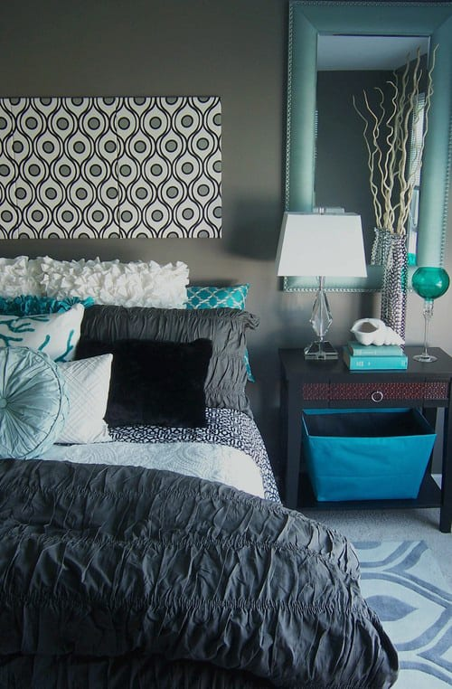 Charming Grey And Turquoise Bedroom Ideas