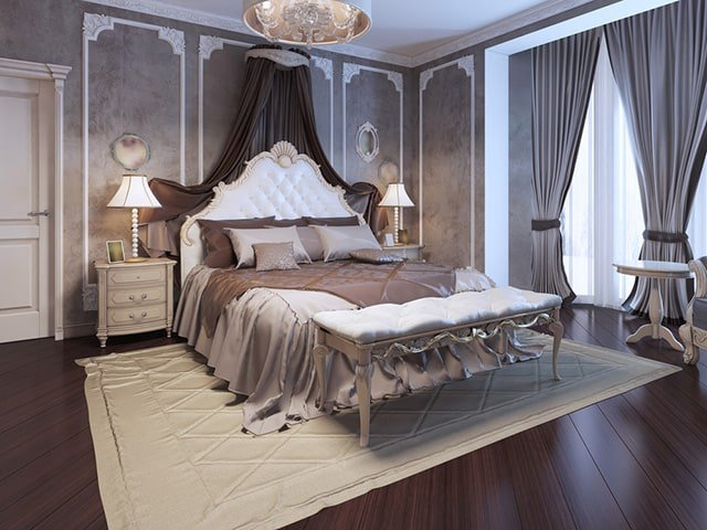 This Luxurious Master Bedroom Has A Very Victorian Art Deco Theme To It The Walls Are Grey Color With White Trim Flooring Is Gorgeous Dark