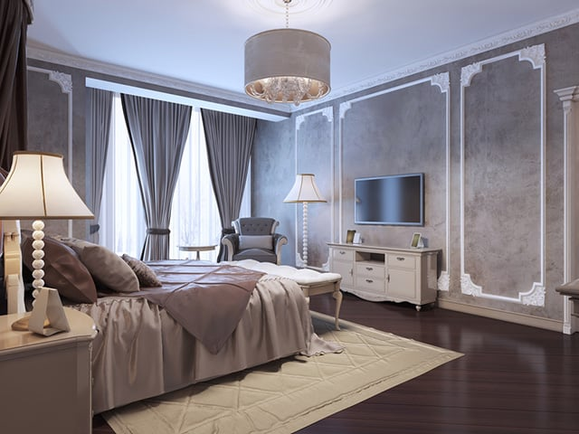 I Love How Large And Elegant This Room Is Hence The Le There A Fantastic Use Of Grey White In Here Walls Are Gorgeous Faux Marble Style