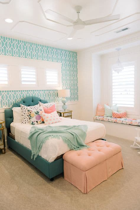 41 unique and awesome turquoise bedroom designs the for Mobilia bedroom