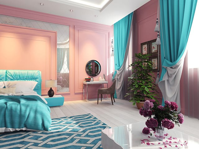 The Pink That We See On Wall Is Same Color Would In 1950 S Era It A Very Vintage Along With Blue
