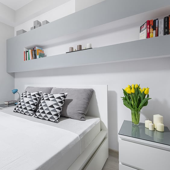 White Grey Here We Have Another Modern Styled Room The Colors Are Very Neutral And Bright Shelving Above Bed Is Perfect For Storing Valuables