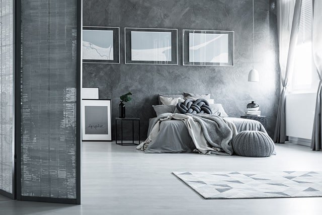 This Large Grey Bedroom Looks Like Something That You Would See In A Black And White Movie Or Book I Really How Much Is The Entire E