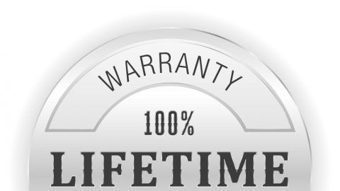 An image of a 100% warranty lifetime badge that's silver