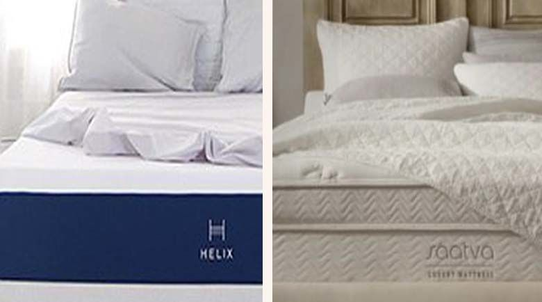 Take a look at the Saatva mattress and the Helix mattress side by side, two popular hybrid mattresses that could be the solution to your need for a new mattress.
