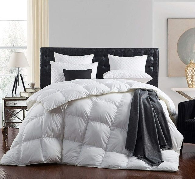 A heavy down comforter is characterized by a lot of insulation, and a lot of insulation is not something you want sleeping under on a hot summer night.