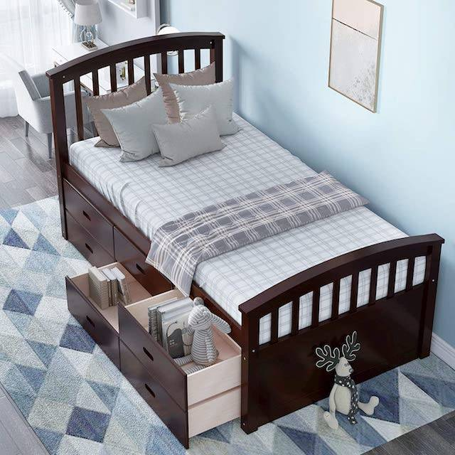 Best Bed Frames With Drawers Reviews, Allewie Queen Platform Bed Frame With 4 Drawers Storage